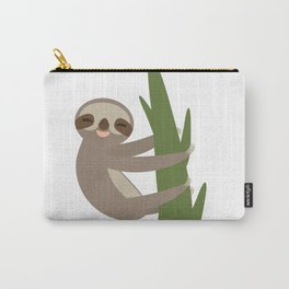 Three-toed sloth on green branch on white background Carry-All Pouch