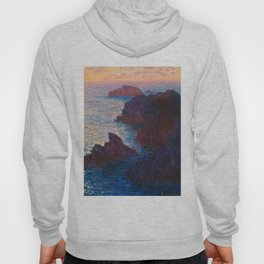 Claude Monet Impressionist Landscape Oil Painting Sunset At Sea Cliffs Ocean Cliff Landscape Hoody