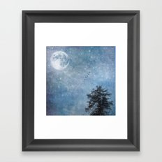 Moon lit flight Framed Art Print