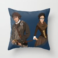 outlander Throw Pillows featuring Sing me a song by Theanimatedlife