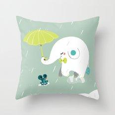 Rainy Elephant Throw Pillow