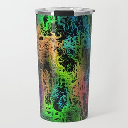 psychedelic geometric painting abstract in green blue yellow pink and black Travel Mug