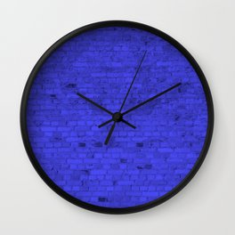 Bright Neon Blue Brick Wall Wall Clock