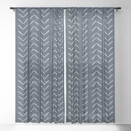 Mud Cloth Big Arrows in Navy Sheer Curtain