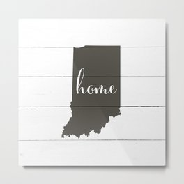 Indiana is Home - Charcoal on White Wood Metal Print