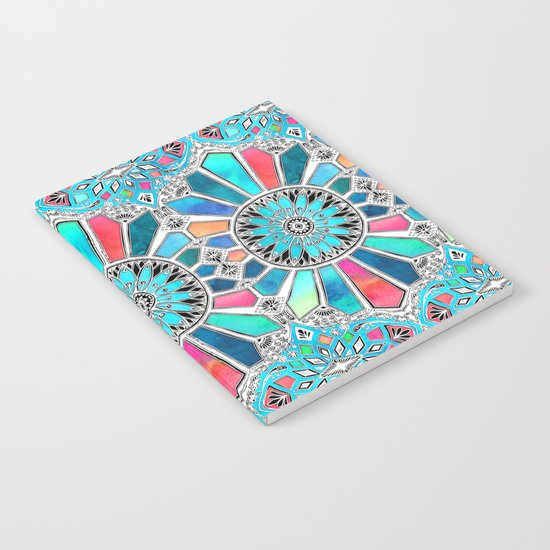 Iridescent Watercolor Brights on White Notebook