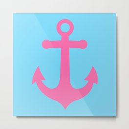Baby Anchor, pink anchor on blue background Metal Print