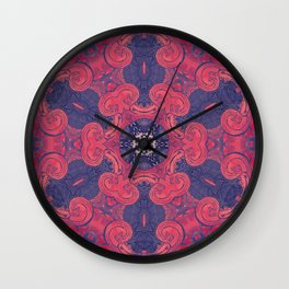 mandala 8 red blue #mandala Wall Clock