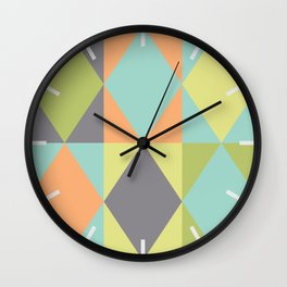 Diamond shapes in modern colors Wall Clock