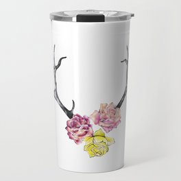 Antlers with Roses Travel Mug