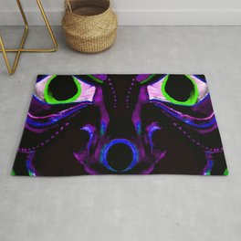 Demon Ethnic Mask Extreme Close Up Illustration Rug