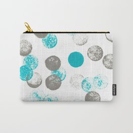 Turquoise and Gray Carry-All Pouch