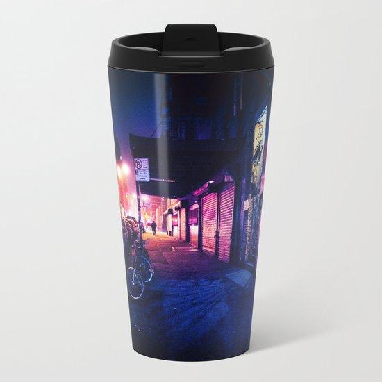 Lower East Side - Night on Rivington Street Metal Travel Mug