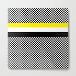 Checkerboard white black and yellow Metal Print