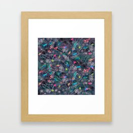 Birds and Flowers Color Pencil Framed Art Print