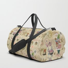Vintage Christmas Collage Pattern Duffle Bag
