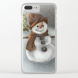 Happy Snowman In The Snow Clear iPhone Case