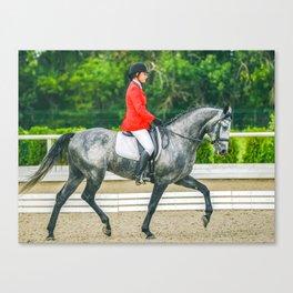 Beautiful girl riding a gray horse Canvas Print