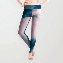 Pink and Teal Abstract Ink Leggings