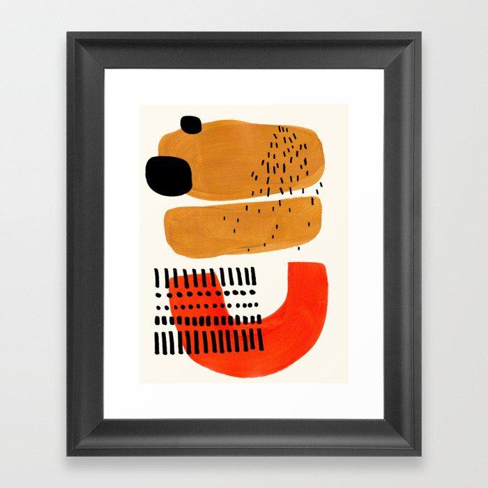 Mid Century Modern Abstract Minimalist Retro Vintage Style Fun Playful Ochre Yellow Ochre Orange  Gerahmter Kunstdruck