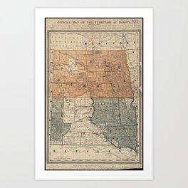 Vintage Map of North and South Dakota (1886) Art Print