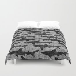 Gray and Black Shark Pattern Duvet Cover