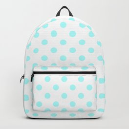 Small Polka Dots - Celeste Cyan on White Backpack