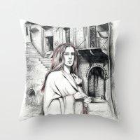 les miserables Throw Pillows featuring Les Miserables Portrait Series - Fantine by Flávia Marques