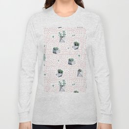 Potted Succulents Pink Polka Dots Long Sleeve T-shirt