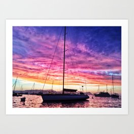 Sky Pillow & Yacht Art Print