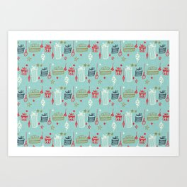 Christmas gift and ornaments Blue and Green Art Print