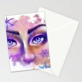 snow beautiful winter snowflakes eyes girl Stationery Cards