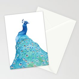 Peacock, teal bird, watercolor painting, home decor Stationery Cards