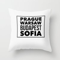 europe Throw Pillows featuring Eastern Europe by aintthatserious
