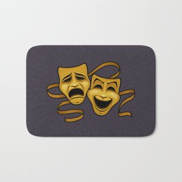 Gold Comedy And Tragedy Theater Masks Bath Mat