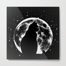 Cat Moon Silhouette Metal Print