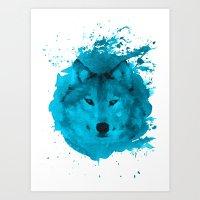 Watercolor Wolf Art Print