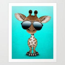 Cute Baby Giraffe Wearing Sunglasses Art Print