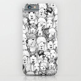 just alpacas black white iPhone Case