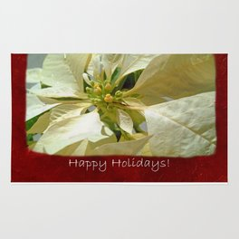 Pale Yellow Poinsettia 1 Happy Holidays P5F5 Rug