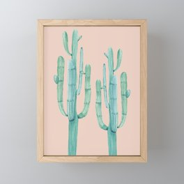 Besties Cactus Friends Turquoise + Coral Framed Mini Art Print