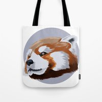 red panda Tote Bags featuring panda by JuliaTara