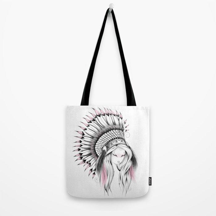 Indian Headdress Pink Version Tote Bag