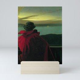 The Longing, Daybreak, Woman in Red coastal landscape painting by Harald Slott-Møller Mini Art Print