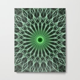 Detailed mandala in warm and cold green tones Metal Print