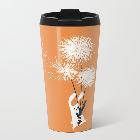 Bunny and Dandelion Bouquet Metal Travel Mug