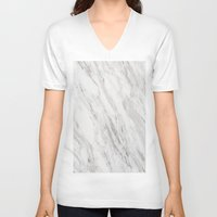 white marble V-neck T-shirts featuring White Marble by LS Works