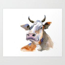 watercolor cow 2 Art Print
