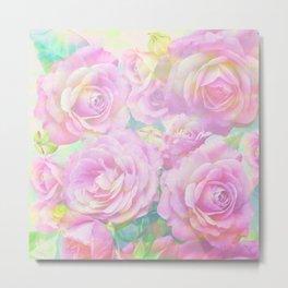 Lush, pink, painterly roses Metal Print