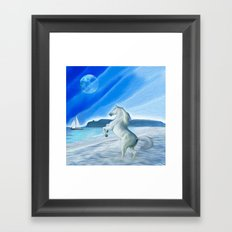 My Design - Beach with moon and horse Framed Art Print